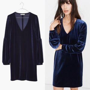 MADEWELL Twilight Blue Velvet Balloon Sleeve Dress